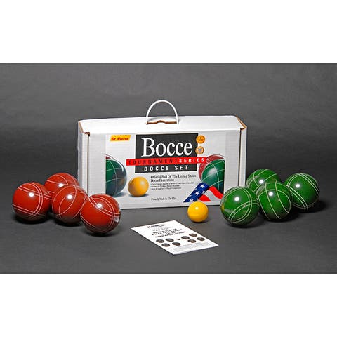 St.Pierre Zippered Nylon Bag Tournament Bocce Ball Set - Green - 18.5 x 9.25 x 5
