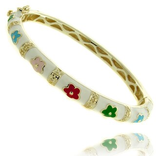 Molly and Emma 14k Yellow Gold Overlay Children's Multicolored Enamel Flower Bangle Bracelet