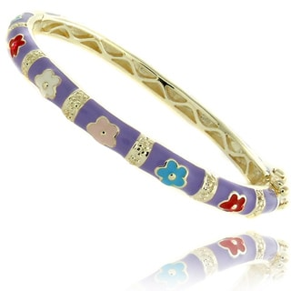 Molly and Emma 14k Gold Overlay Children's Multi-colored Enamel Flower Bangle Bracelet