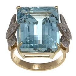 Pre-owned 18k Gold Art Deco Aquamarine and 1/10ct TDW Diamond Estate Ring (H-I, SI1-SI2)