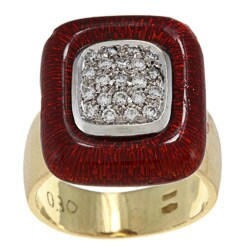 Pre-owned 18k Yellow Gold 1/2ct TDW Diamond and Red Enamel Estate Ring (H-I, SI1-SI2)