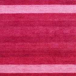 Herat Oriental Indo Hand-knotted Tibetan Red/ Lt. Pink Wool Rug (4' x 6')