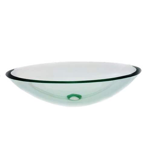 Clear Oval White Glass Vessel Sink