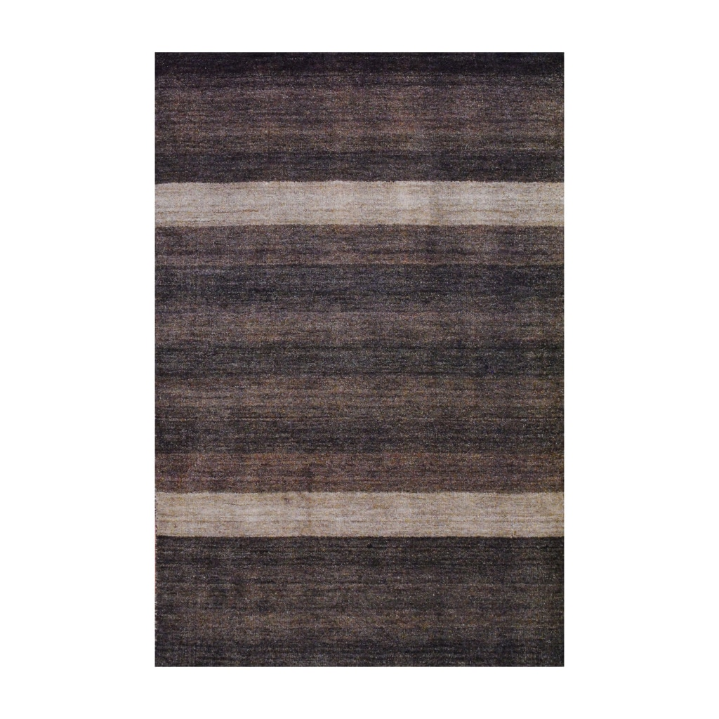 Herat Oriental Indo Hand-Knotted Tibetan Brown Striped Wool Rug (4' x 6')