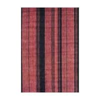 Herat Oriental Indo Hand-Knotted Striped Tibetan Rust Wool Rug (4' x 6') - 4' x 6'