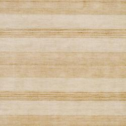 Indo Hand-Knotted Tibetan Beige Wool Rug in a Striped Pattern (4' x 6') - Thumbnail 1