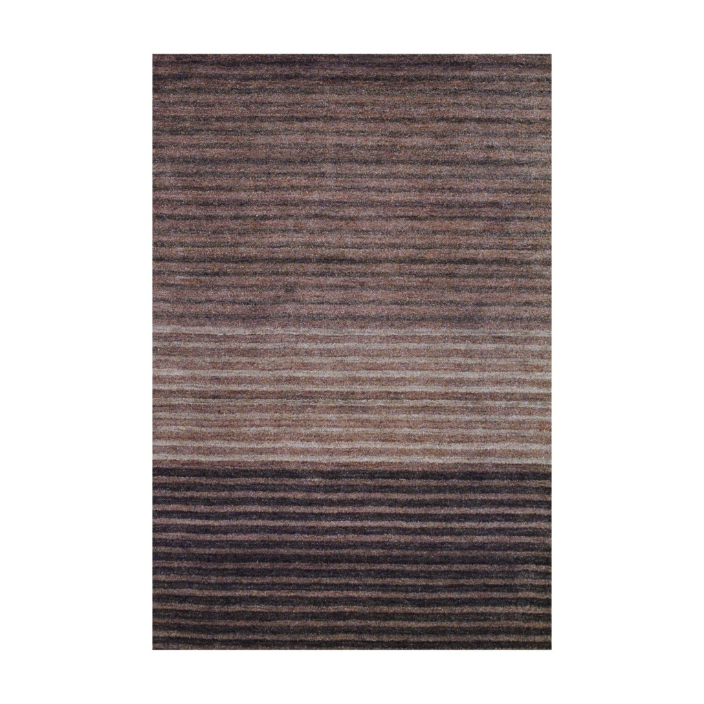 Herat Oriental Indo Hand-knotted Tibetan Brown Ombre Wool Rug (4' x 6')