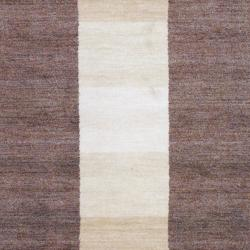 Hand-Knotted Indo Tibetan Brown/Beige/Ivory Wool Rug (4' x 6')