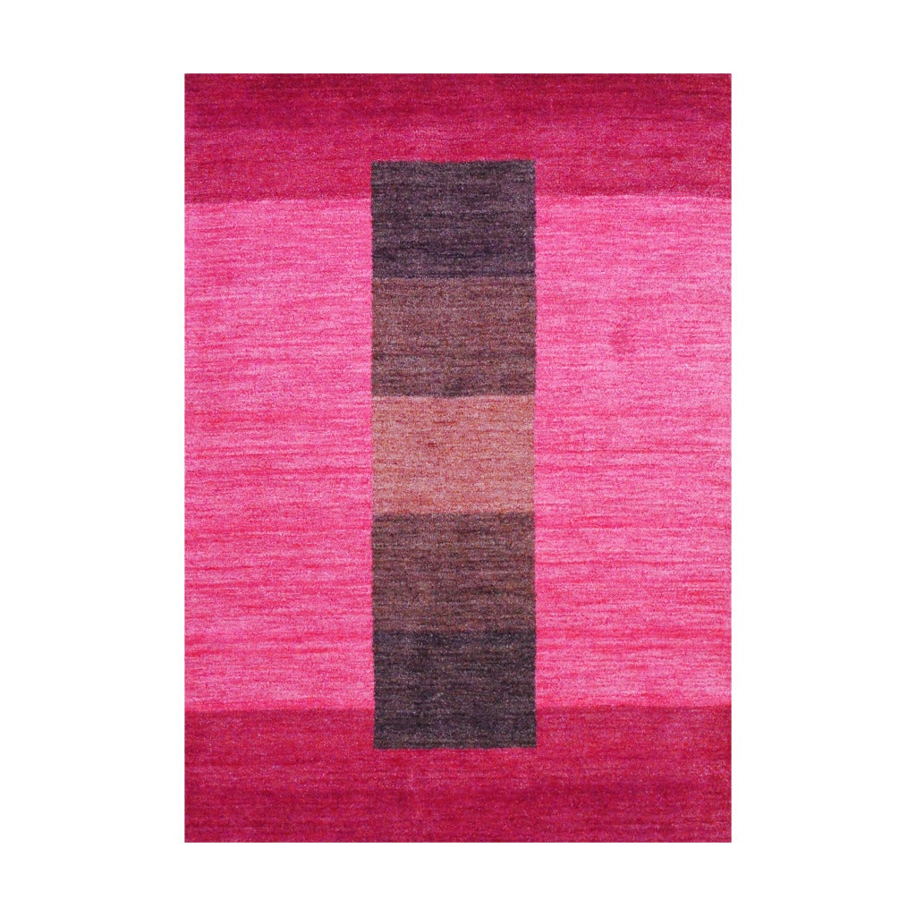 Indo Hand-Knotted Tibetan Red Striped-Pattern Wool Rug (4' x 6')
