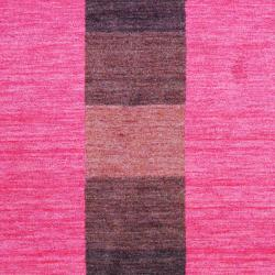 Indo Hand-Knotted Tibetan Red Striped-Pattern Wool Rug (4' x 6') - Thumbnail 1