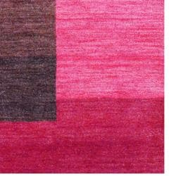 Indo Hand-Knotted Tibetan Red Striped-Pattern Wool Rug (4' x 6') - Thumbnail 2