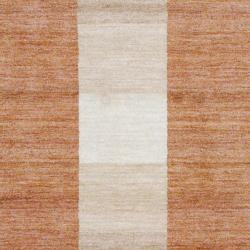 Hand-Knotted Indo Tibetan Brown Geometric Wool Rug (4' x 6') - Thumbnail 1
