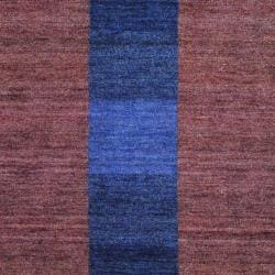 Herat Oriental Indo Hand-knotted Tibetan Striped Brown Wool Rug (4' x 6') - Thumbnail 1