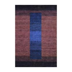 Herat Oriental Indo Hand-knotted Tibetan Striped Brown Wool Rug (4' x 6')