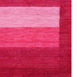 Herat Oriental Indo Hand-knotted Tibetan Stripe-Patterned Red/ Pink Wool Rug (4' x 6')