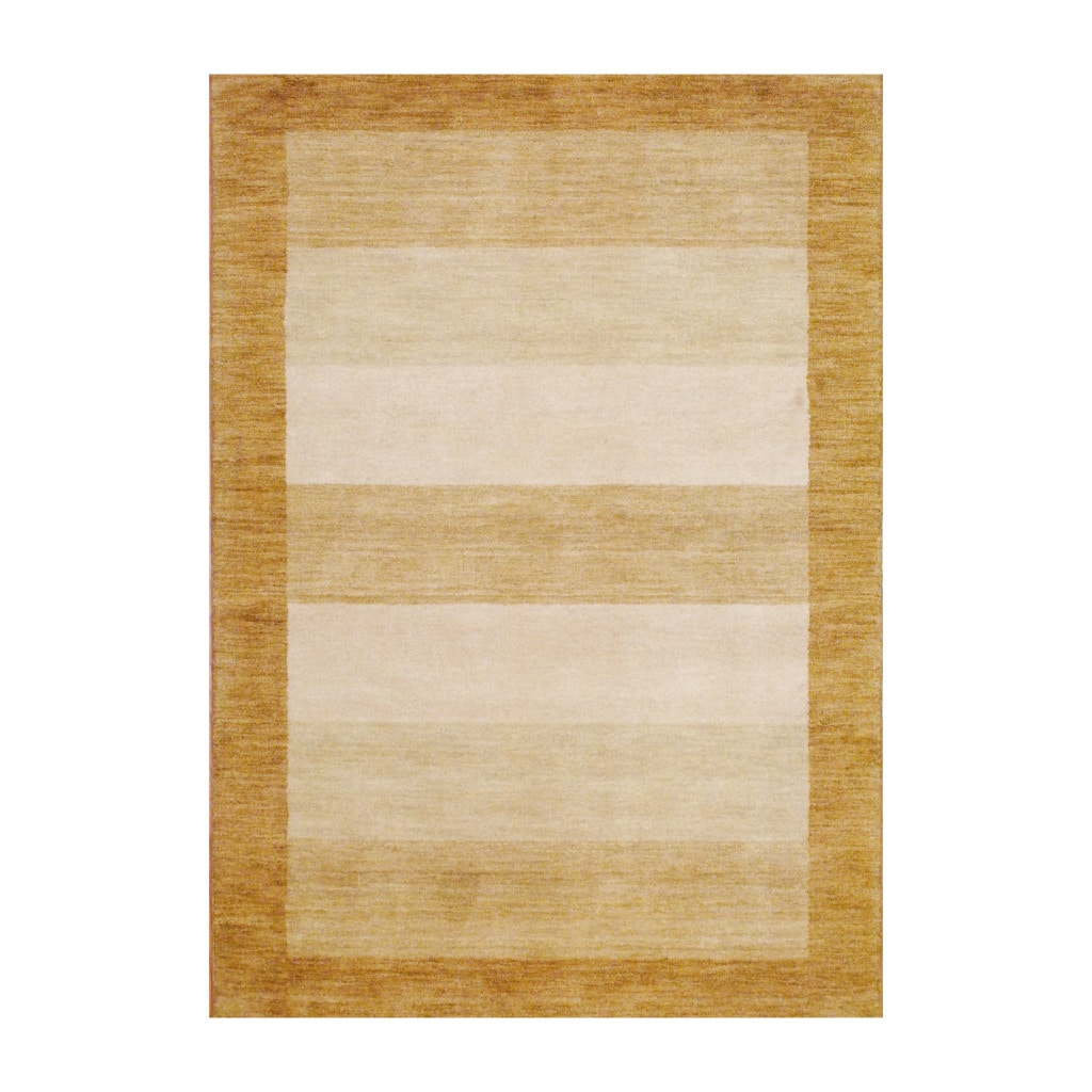 Herat Oriental Indo Hand-knotted Tibetan Beige Wool Rug (4' x 6') - Thumbnail 0
