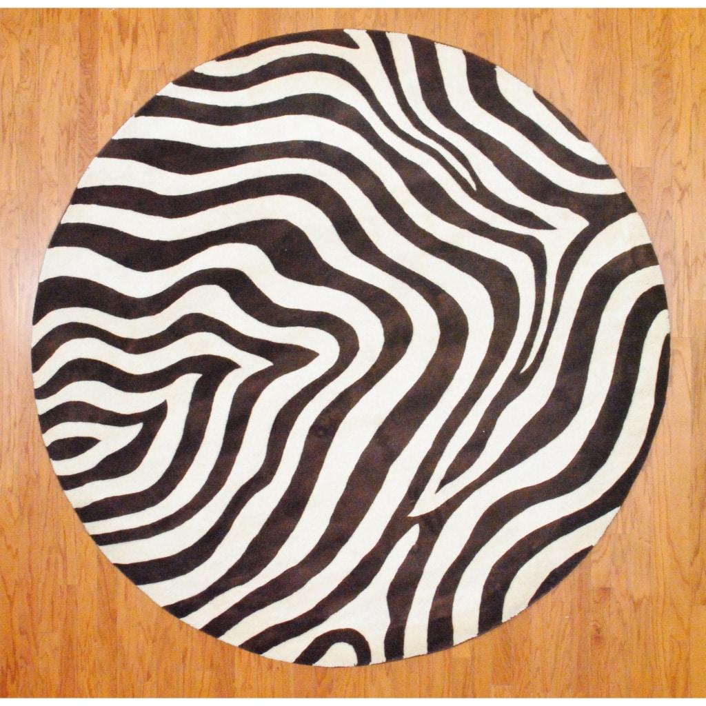 Shop Indo Hand Tufted Zebra Print Brown Ivory Wool Rug 8
