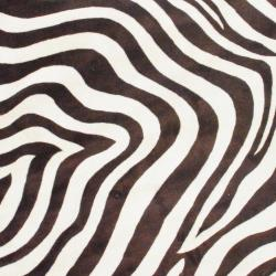 Indo Hand-tufted Zebra-print Brown/ Ivory Wool Rug (8' Round) - Thumbnail 1