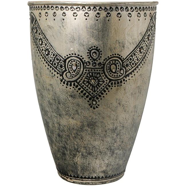 Antique-Retro Fusion Necklace Design Silver Fresco Finish Embossed Vase  , Handmade in India