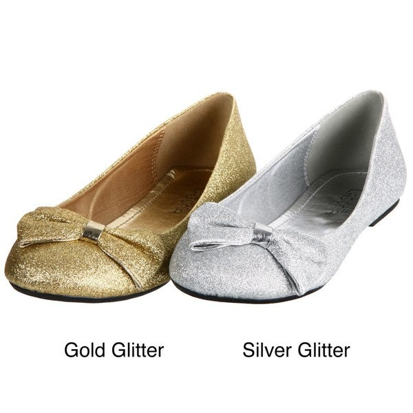 Lasonia Women's Gold Glitter Round-toe Flats