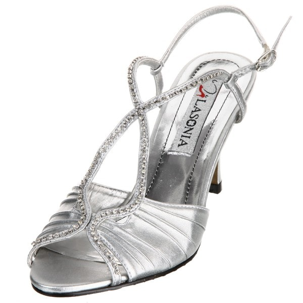 Lasonia Women's Silver Rhinestone Embellished Heels