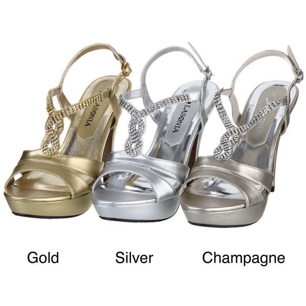 Lasonia Women's Gold Rhinestone Heels
