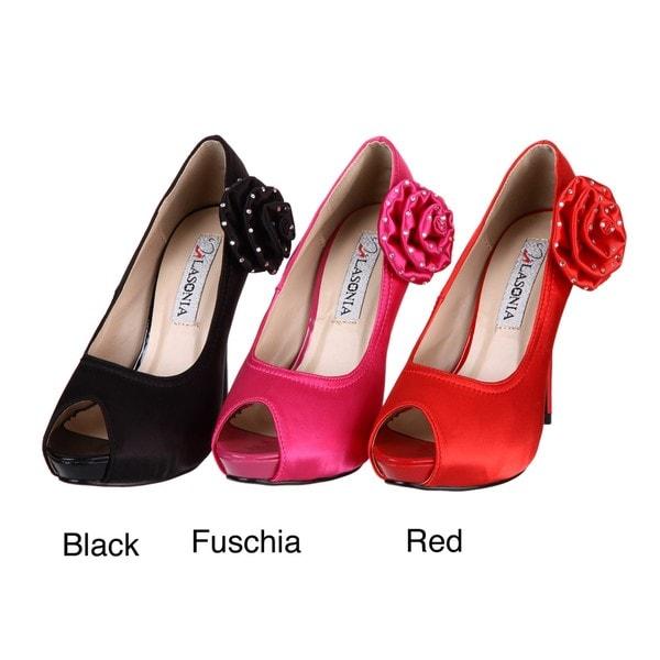 Lasonia Women's Rosette Peep Toe Pumps