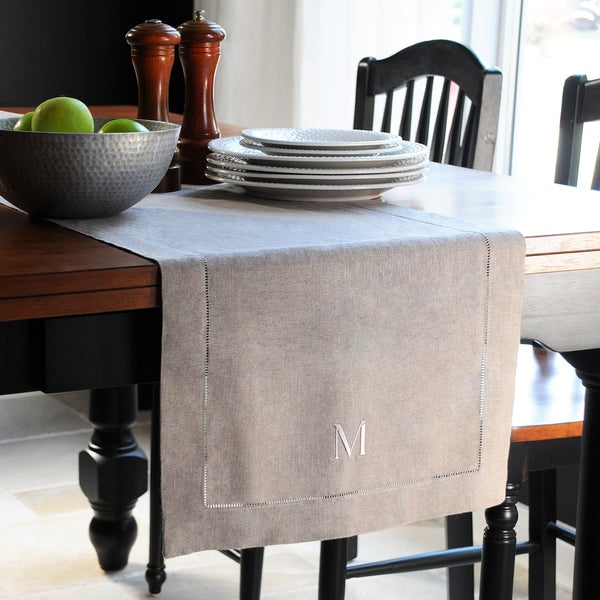 Monogrammed Natural Linen Hemstitch Table Runner