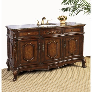 Brown Marble Top 60-inch Chestnut Brown Single Sink Bathroom Vanity