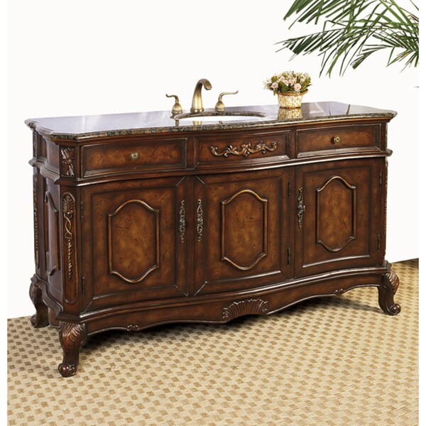 Brown Marble Top 60 Inch Chestnut Brown Single Sink Bathroom Vanity