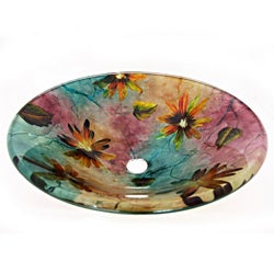 Floral Summer Glass Vessel Sink
