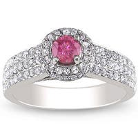 Miadora 14k White Gold 1ct TDW Pink and White Diamond Halo Ring