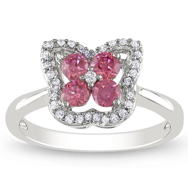 Miadora 14k White Gold 1/2ct TDW Pink and White Diamond Ring