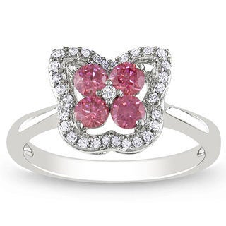 Miadora 14k White Gold 1/2ct TDW Pink and White Diamond Ring