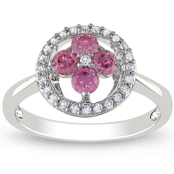 Miadora 14K White Gold 1/2Ct TDW Pink and White Diamond Floral Ring