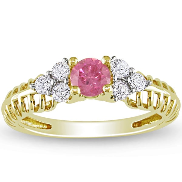 Miadora 14k Yellow Gold 1/2ct TDW Pink and White Diamond Ring (H-I, I1-I2)