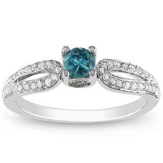 Miadora 14k White Gold 1/2ct TDW Blue-and-white Round-cut Diamond Ring