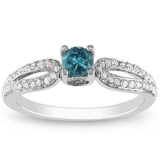 Miadora 14k White Gold 1/2ct TDW Blue-and-white Round-cut Diamond Ring