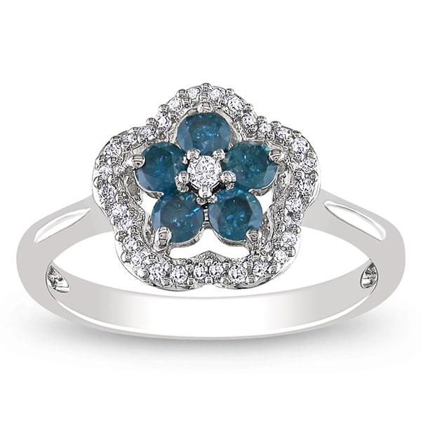 Miadora 14k White Gold 1/2ct TDW Blue and White Diamond Ring
