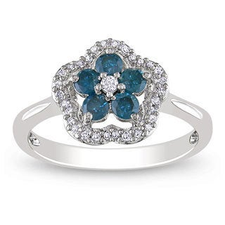 Miadora 14k White Gold 1/2ct TDW Blue and White Diamond Ring