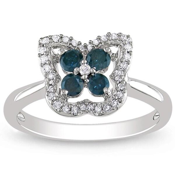 Miadora 14K White Gold 1/2 CT TDW Blue and White Diamond Ring