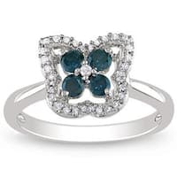 Miadora 14K White Gold 1/2 CT TDW Blue and White Diamond Ring