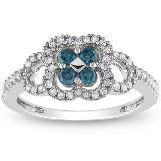Miadora 14k White Gold 1/2ct TDW Blue-and-white Buttercup-set Diamond Ring (H-I, I1-I2)