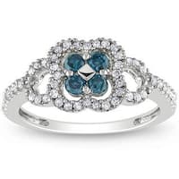 Miadora 14k White Gold 1/2ct TDW Blue-and-white Buttercup-set Diamond Ring