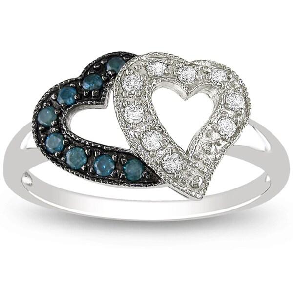 Miadora 14k White Gold 1/4ct TDW Blue and White Diamond Ring