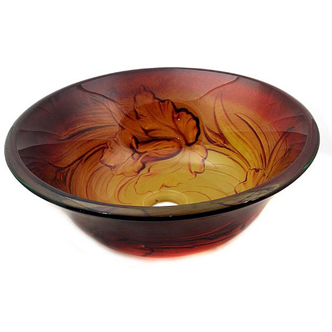 Glass Amber Flower Sink Bowl - Thumbnail 0