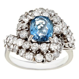 Pre-owned 18k White Gold Aquamarine and 3ct TDW Diamond Ring (G-H, SI1-SI2)