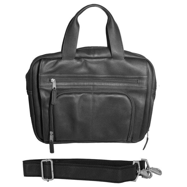 Latico Heritage Black Leather Top-zip Laptop Brief