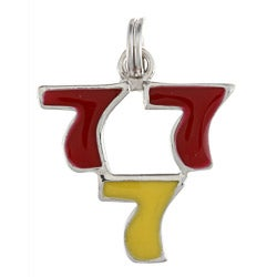 La Preciosa Sterling Silver Red and Yellow Enamel Triple 7 Charm