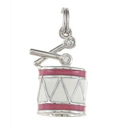 La Preciosa Sterling Silver Pink and White Enamel Drum Charm
